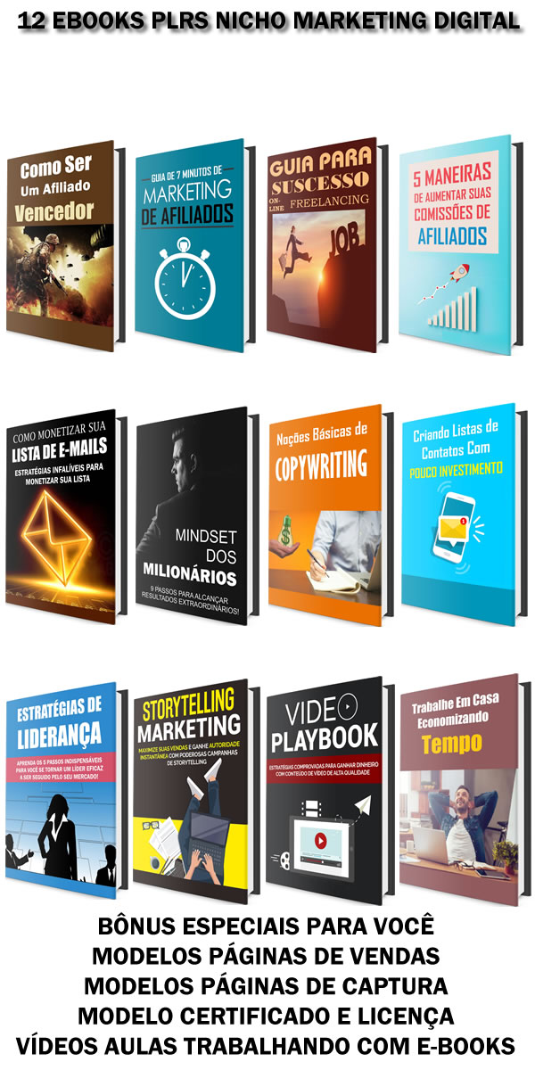 12 ebooks plrs nicho marketing digital